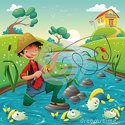 Pescatore e pesci nel fiume.