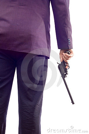 Pessoa em um terno que prende um injetor