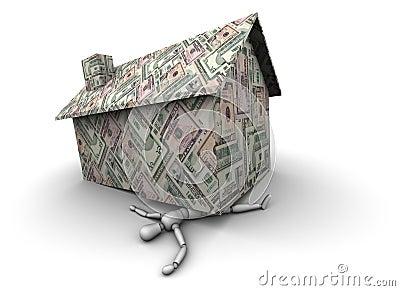 Pessoa esmagada sob a casa feita do dinheiro