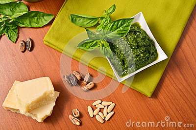 Italian Cuisine. Pesto genovese Sauce. Basil.