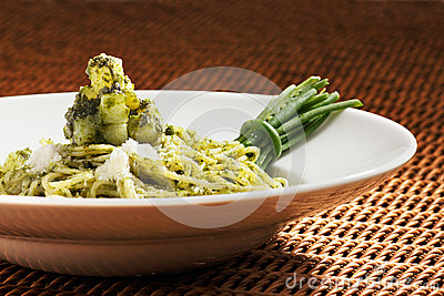 Pesto pasta is an Italian staple food