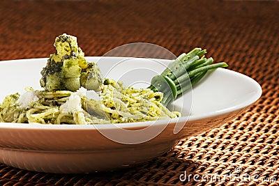 Pesto pasta is an Italian staple food