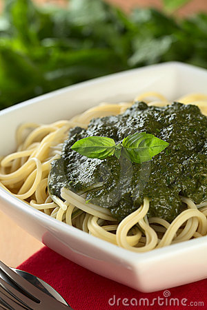 Pesto on Spaghetti