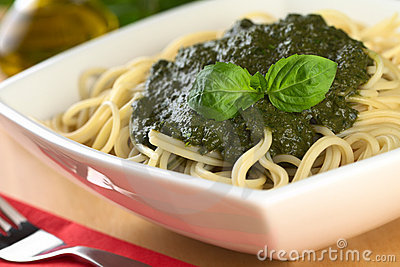 Pesto on Spaghetti