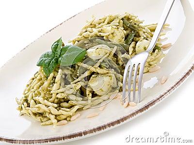 Pesto trofie typical genoa