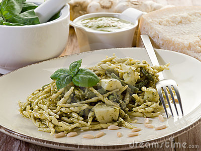 Pesto trofie typical genoa