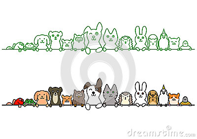 Pet animals in a row with copy space Vector Illustration