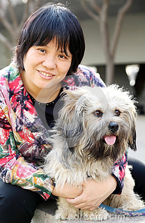 Pet dog with its owner
