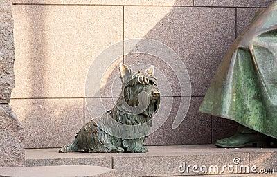 Pet dog at Roosevelt memorial Washington DC