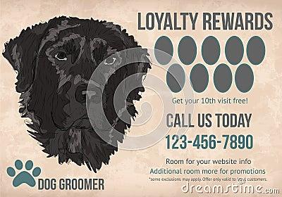 Pet grooming loyalty card tempalte