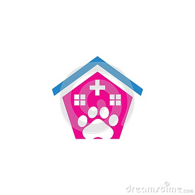 Pet shop care clinic logo Vector Illustration