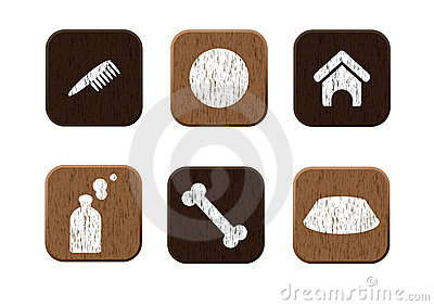 Pet shop wooden icons set vector
