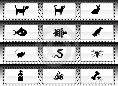 Pet web buttons - black and white