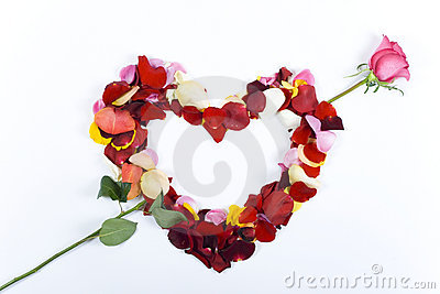 Petal heart with arrow from rose