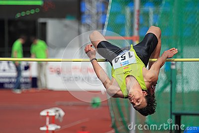 Peter Horak - high jump in Prague 2012 Editorial Stock Photo