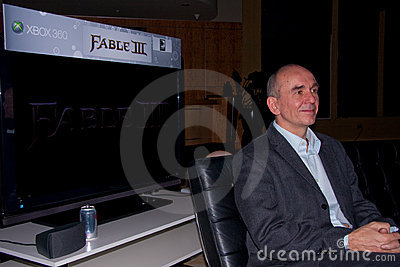 Peter Molyneux introducing Fable 3 at X10 Editorial Photo
