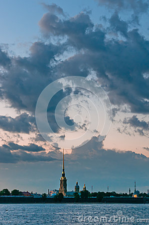 Peter and Paul fortress with cloudscape