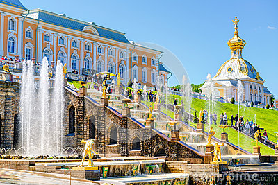 Peterhof Palace with Grand Cascade in Saint Petersburg, Russia Editorial Stock Photo