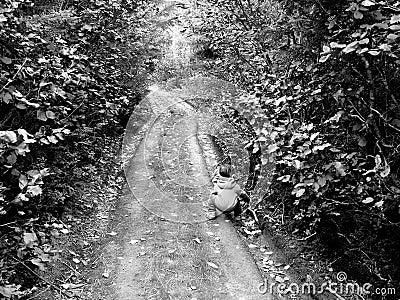 Petit garçon sur un vieux chemin
