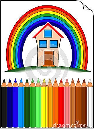 Petit morceau coloré de crayons à la maison au-dessus de l arc-en-ciel