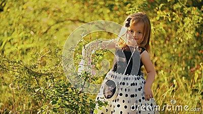 Petite fille arrosant un arbre clips vidéos