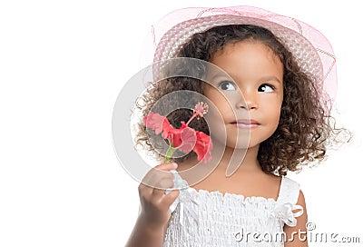 petite fille avec une coiffure afro tenant une fleur rouge photo stock image 43842495. Black Bedroom Furniture Sets. Home Design Ideas