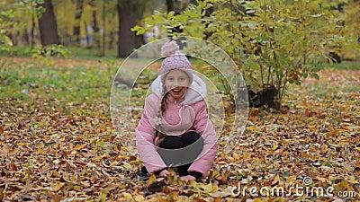 Petite fille en automne de parc Sourires adorables de petite fille clips vidéos