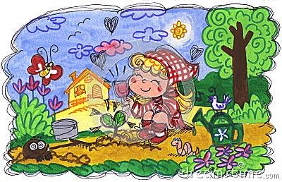 Petite fille faisant le jardinage