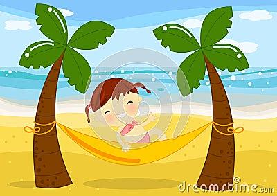 Petite fille sur l hamac dans Palm Beach