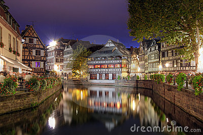 Petite-France at night, Strasbourg, France