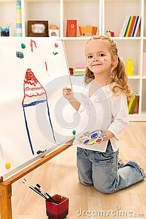 Petite Peinture De Fille D'artiste Sa Maison Rêveuse
