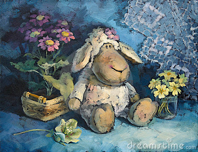 Petits moutons doux avec des fleurs