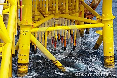 Petróleo e gás produzindo entalhes na plataforma a pouca distância do mar