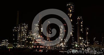 Petro chemical plant pernis Rotterdam by night
