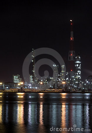 Petrochemical plant in the night