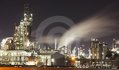 Petrochemical plant at night - Oil refinery