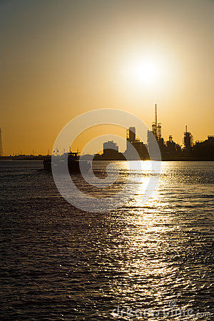 Petrochemical Refinery Climate Change Sunset V