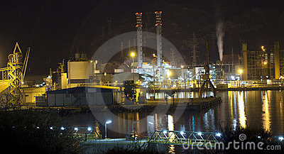 Petrochemical refinery at night