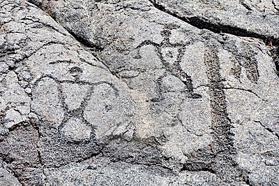 Petroglyph at volcanoes national park, Hawaii