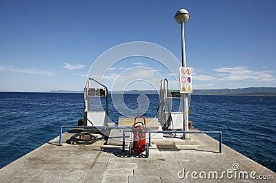 Petrol fuelling station on seaside