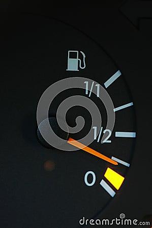 Petrol meter showing low petrol