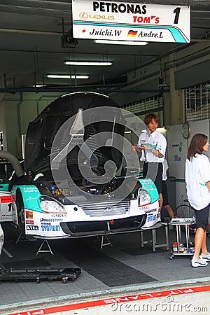 Petronas TOM Lexus garrage, SuperGT 2010 Editorial Stock Photo