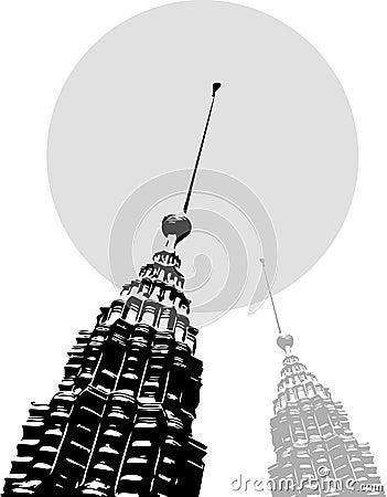 Petronas towers black on white