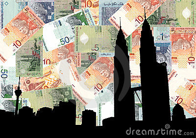 Petronas Towers with currency
