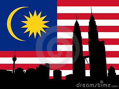 Petronas Towers with flag