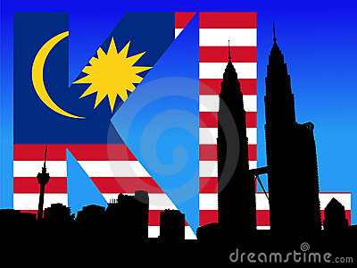 Petronas Towers with flag text