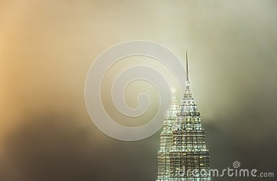 Petronas Towers(Twin tower) in cloud