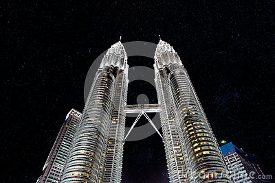 Petronas Towers at night with stars