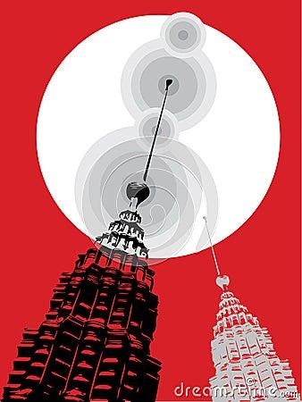 Petronas towers on red