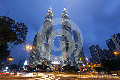 Petronas Twin Towers exterior design Editorial Stock Photo